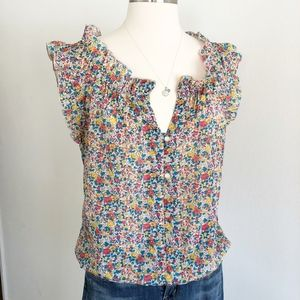 Timing Floral Button Up Sleeveless Shirt, Sz L